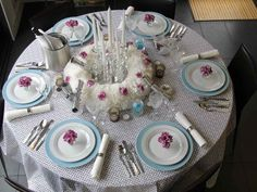 Decoration : Cute Dinner Table Setting Ideas With Chandles Dinner Table Setting Ideas Easter Dinner Table Setting Ideas' Thanksgiving Decorating Ideas' Dinner Settings along with Decorations Table Set Up, A Table, Table Setting Etiquette, Breakfast Table Setting, Setting Table, Dinner Party Table, Dinner Parties, New Years Eve Dinner, Bridal Shower Tables