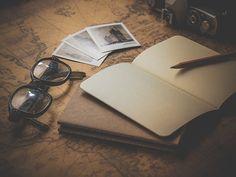 古い, レトロ, アンティーク, ビンテージ, 古典的な, フォト, 地図, 旅, メモ, 旅行, ペン