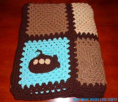 Crochet Granny Square Blanket w/Submarine ~ Navy Wifey Peters Aboard the USS Crafty