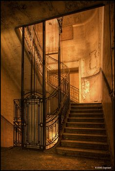 Elevator well and stairs - abandoned Bureau de CW (late Century office building) Old Buildings, Abandoned Buildings, Abandoned Places, Abandoned Castles, Beautiful Ruins, Beautiful Places, Famous Castles, Stairway To Heaven, Haunted Places