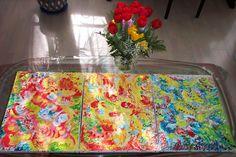 Jasmina Vladimirova, Fleurs de Printemps, Huile sur toile, Triptique,  3x30x60 cm, Collection privée