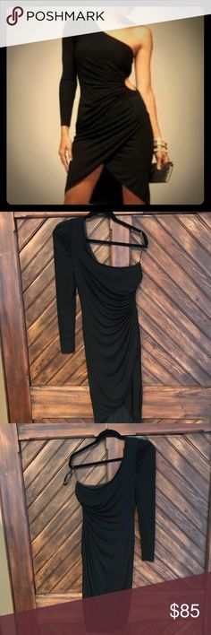 Kardashians by bebe side cutout one sleeve dress Kardashians By bebe cutout one sleeve dress. Limited edition dress worn once to a dinner party. Stretchy knit but fits great. The rubber support line inside the top helps keep in place. bebe Dresses One Shoulder
