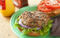 Add cooked quinoa to these burgers (instead of bulgur) to make them super-hearty! Use 2 1/2 cups cooked quinoa to serve 5 (that will take care of your grain portion -- you won't need a bun).