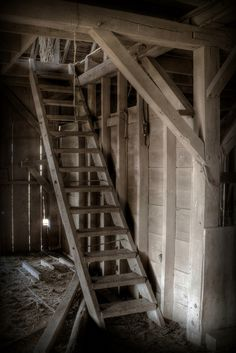 Ladder To Barn Hay Loft I learned to tie my tennis shoes here on the steep steps leading down, it was quite here, and I could practice, until I got it right * Metal Barn Homes, Metal Building Homes, Pole Barn Homes, Horse Barns, Old Barns, Horse Stables, Highlands, Yankee Barn Homes, Country Barns