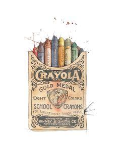 """Fargestifter"" (Vintage Crayola crayons)  Copyright: Emmeselle.no   illustration by Mona Stenseth Larsen"