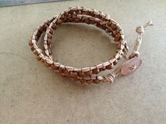 Juniper berry seeds and leather wrap bracelet