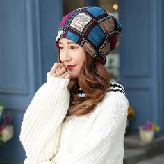 Plaid Hood Scarf Hat Female Womens Winter Hats And Scarves Bonnet Echarpe  Men Cotton Skully Cap Autumn Spring Summer Beanies-in Skullies   Beanies  from ... 8c00c75b754f