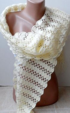 Cream Crochet scarf Crocheted scarf Handmade scarf Christmas Valentines day gifts Long cowl scarf Eternity Gifts for Mothers Grandmothers Shawl Crochet, Crochet Shrug Pattern, Crochet Scarves, Baby Knitting Patterns, Crochet Stitches, Crocheted Scarf, Crochet Patterns, Crochet Lace, Free Pattern