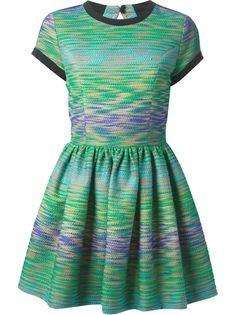 MSGM Vestido Estampado Verde