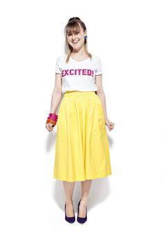 Our girl boss in Cosmo Boss Lady, Girl Boss, Our Girl, Cosmos, Midi Skirt, Yellow, Skirts, Blog, Accessories