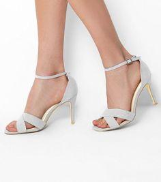 cc52495cfda Wide Fit Grey Comfort Suedette Cross Front Heels