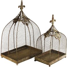 Rustic Wire Decorative Bird Cages - Set of 2 (€120) ❤ liked on Polyvore