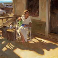 "Sunny Porch - Kim English American, b.1957- Oil on canvas, 14 x 14 """