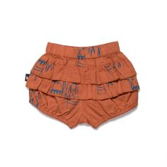 Organic baby clothing - Ethi- Beach Day bloomers frill back rust