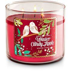 3-Wick Candle ($13) ❤ liked on Polyvore featuring home, home decor, candles & candleholders, winter candles, 3 wick candles, candy candles, apple candle and three wick candles
