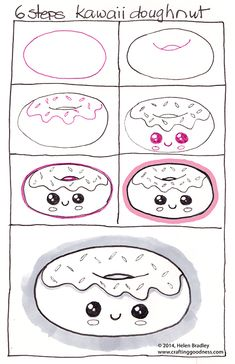 to draw a Kawaii donut or should that be Learn to draw a doughnut, step by step?:How to draw a Kawaii donut or should that be Learn to draw a doughnut, step by step? Kawaii Drawings, Doodle Drawings, Doodle Art, Cute Drawings, Drawing Sketches, Drawing Ideas, Drawing Tips, Cute Easy Drawings, Fish Drawings