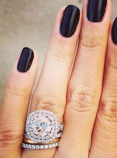 Form a pretty pattern with your wedding ring stack! Forget the correct order! Wedding bands and engagement rings are being styled in all sorts of ways. Here are some standout stacks we love. Wedding Band Styles, Wedding Bands, The Bling Ring, Bling Bling, How To Wear Rings, Wedding Engagement, Engagement Rings, Stacked Wedding Rings, Pretty Patterns
