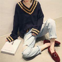 Fashion Pants, Fashion Outfits, Womens Fashion, Cool Outfits, Casual Outfits, Korean Girl Fashion, Korean Outfits, Striped Knit, Streetwear Fashion