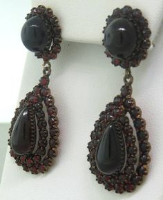 Antique Bohemian Garnet Drop Earrings image 2