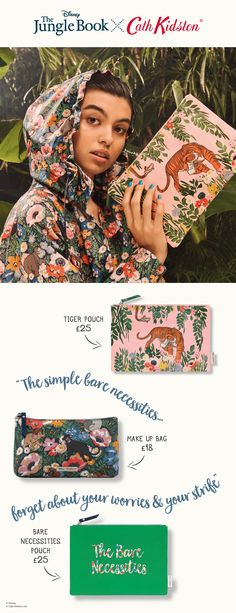 Our mini sized, slimline toiletry bag made from matt oilcloth. Fully lined and wipe clean inside and out, this zip makeup bag is extra special thanks to its limited edition Jungle Book inspired print. Bare Essentials, Bare Necessities, Jungle Boogie, Jungle Flowers, Make Up Organiser, Fairy Makeup, Highlighter Makeup, Tiger Print, Cath Kidston