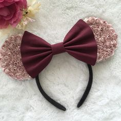 Mauve w/ Burgundy Bow Floral Ears by Shoplavenderb on Etsy