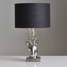 Wilko Silver and Black Stag Head Table Lamp E14 Led, Stag Head, Led Candles, Bedside Lamp, Shades Of Black, Living Spaces, Silver, Table Lamps, Homes