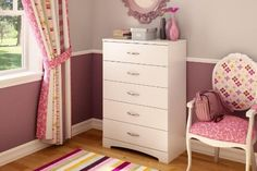 South Shore Maddox 5 Drawer Chest in Pure White Finish by South Shore. $134.98. Ready to assemble. Secure Smart Glides drawer slides with lifetime warranty. Adult assembly required. Contemporary style. Decorative kickplate. The Maddox Chest is constructed from laminated particle board with a pure white finish. This chest features five large drawers to solve the problem of bedroom storage while adding beauty and a streamlined look to your living space. It has Smart G...
