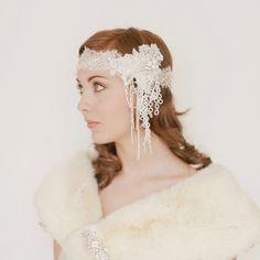 1920s Era Deco  Beaded Bridal Headband 751. $285.00, via Etsy.