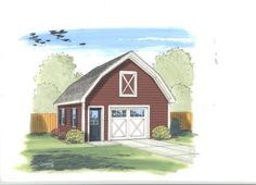 24' x 30' x 10' 2-Car Garage with Gambrel Roof