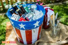 Upcycle an old tin bucket into the perfect Fourth of July drink cooler! DIY by @paigehemmis! Catch #homeandfamily weekdays at 10/9c on Hallmark Channel!