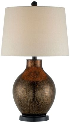 Crackle Copper Jug Base Drum Shade Table Lamp - EuroStyleLighting.com