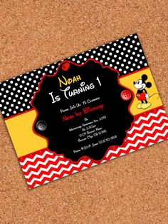 DIGITAL or PHYSICAL INVITATION Mickey Mouse por AtomDesign en Etsy