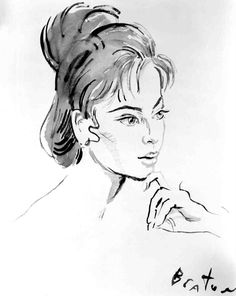 Hairstyle sketch by Cecil Beaton for Leslie Caron as Gigi.