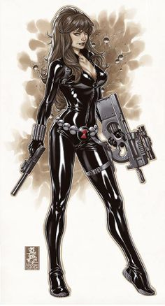 Black Widow by Mark Brooks. Fabricating these guns would be mad fun