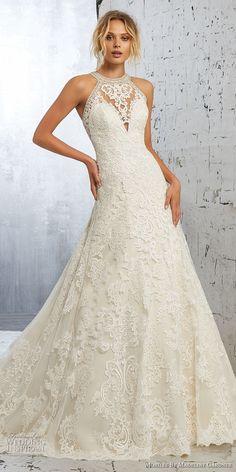 morilee 2018 bridal sleeveless halter jewel neck full embellishment elegant a line wedding dress sheer lace back long train (3) mv