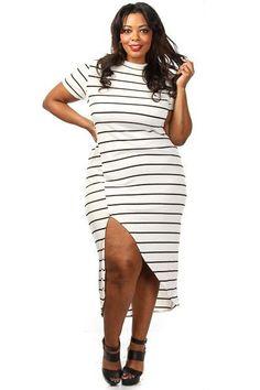Robes Taille Blanc Noir Stripe Haute Maxi Robe Slit Pas Cher www.modebuy.com @Modebuy #Modebuy #Blanc #Blanc #Noir #me