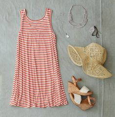 AEO Cross Strap Tank Dress and Floppy Straw Hat. #AEOSTYLE