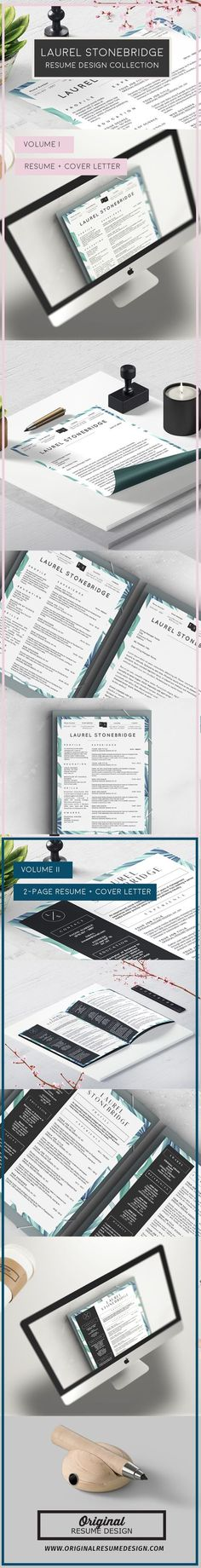 Beautiful Modern Resume Template For Microsoft Word   Laurel Stonebridge  Volumes I And II