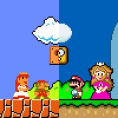 Super Mario Bros. (NES) Nintendo 1985. Super Mario World (SNES) Nintendo 1990.