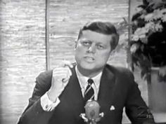 """Senator John F. Kennedy appears on the Jack Paar show in 1960, to promote his presidential campaign. During the clip the host asks JFK why he went into politics, and why he is running for president.    Kennedy also discusses the imminent threat of communism, and declares, """"The US is the only guardian at the gate against communistic advance."""" JFK was tragically assassinated by communist-leaning lone-nut Lee Harvey Oswald, three years later."""