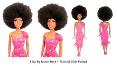 Brushed out hair Afro doll. Hair by Karen Byrd. Natural Girls United. www.naturalgirlsunited.com