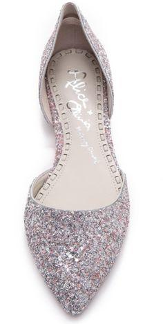 Alice + Olivia Hilary Diamond Glitter Flats instead of heels. Pretty Shoes, Beautiful Shoes, Cute Shoes, Me Too Shoes, Bridal Shoes, Wedding Shoes, Wedding Makeup, Wedding Stuff, Wedding Dresses