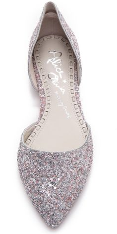 Alice + Olivia Hilary Diamond Glitter Flats for your wedding day instead of heels. Brilliant!