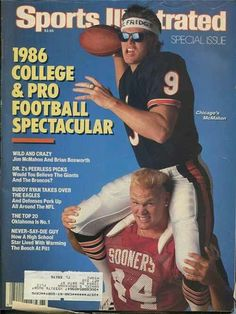 Brian Bosworth in his college days on the cover of SI with Jim McMahon Semi Pro Football, Bears Football, College Football, Football Players, Jim Mcmahon, Around The Nfl, Sports Magazine Covers, Sports Illustrated Covers, Champs