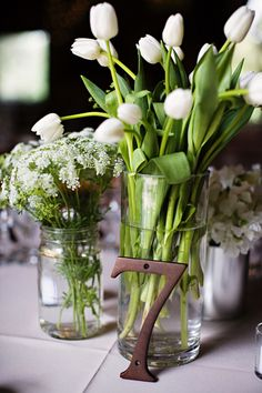tulips in a clear cylinder, queen anne's lace in a mason jar