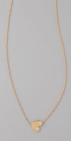 "Jennifer Zeuner    Mini 1/2"" Heart Necklace with Diamond"