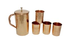 Hammered Copper Jug with 6 Glass  | IKH101055S60204 | $39.99