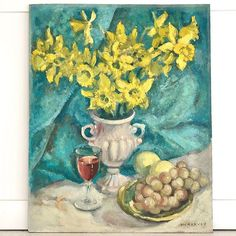 A bright & beautiful Vintage Still Life, of Daffodils in a vintage vase, with wine and grapes, upon a deep turquise ground. Sumptuous and vibrant, perfect for the gallery wall. Vintage Vases, Vintage Art, Be Still, Still Life, Floral Paintings, Daffodils, Vibrant, Gallery Wall, Wine