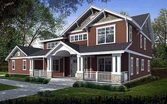 Bungalow Style House Plans - 2968 Square Foot Home , 2 Story, 5 Bedroom and 3 Bath, 2 Garage Stalls by Monster House Plans - Plan my dreams. Bungalow House Plans, Craftsman Style House Plans, House Floor Plans, Craftsman Homes, Craftsman Porch, Craftsman Exterior, Modern Craftsman, Bungalow Homes, Bungalow House Design