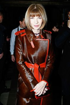 Anna Wintour in a sleek, oxblood and red lined jacket at the Lanvin F/W 15 show // Paris Fashion Week